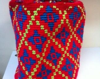 Canvas BAG / Mochila / Boho Style / Shoulder  Bag / Large - The Colombian Argyle - Red Blue Yellow