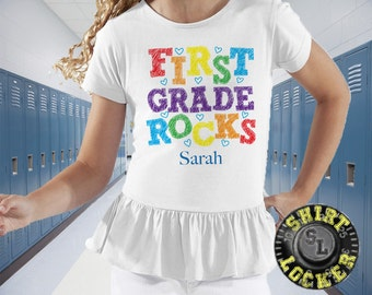 First Grade Rocks Personalized Girls White Ruffle Tee Custom Shirt First Grader First Day of School Child's Back to School Shirt
