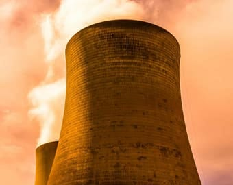Powerstack / cooling tower pair, color photography