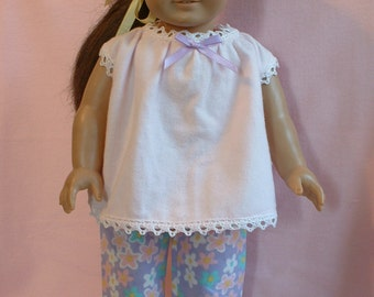"""Flannel Pajama Set, 18"""" doll clothes, fits American Girl Doll"""