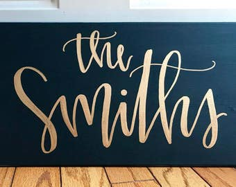 Custom family name sign-10x20 canvas sign, custom name sign, name sign, custom name canvas, last name sign, hand lettered sign, custom sign