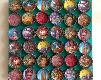Underside of flat wood Mexican folk art Frida Kahlo active capsules