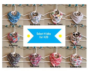 PICK ANY 4 Baby Bandana Bibs | Set of 4 baby drool bibs (select your own fabric)