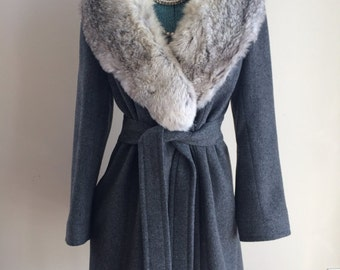 Vintage Country Pacer Grey Wool Winter Wrap Faux Fur Coat Small Faux Dress Peacoat