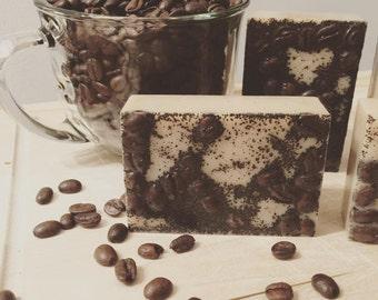 Espresso exfoliating soap bars, goats milk soap, espresso soap, coffee soap, coffee bean soap