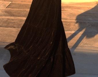 Vintage Black Full 3-Tier Velvet Ankle-length Skirt- fit sizes S-L