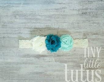 Teal, Aqua, Ivory Lace Headband