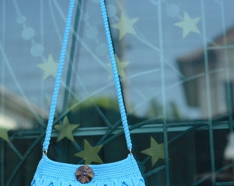 Crochet shoulder bag with button, Blue