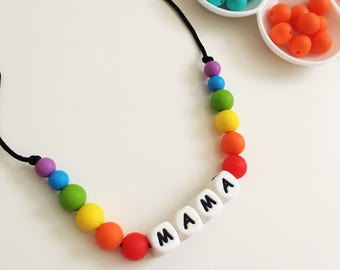 Personalised silicone teething necklace, jewellery, new baby, baby shower gift, sensory toy, breastfeeding, baby wearing