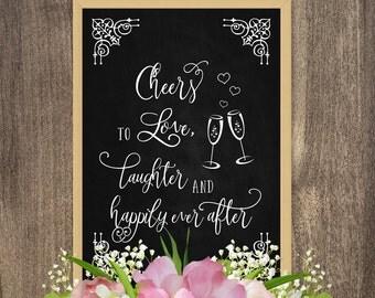 DIY wedding decorations, Chalkboard art, Wedding chalkboard signs, Cheers to love, Rustic themed wedding decor, Rustic wedding decorations