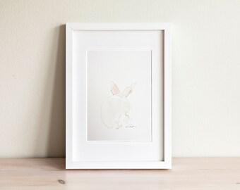 Illustration lapin, Rabbit Illustration / fait main, handmade