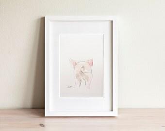 Illustration cochon, Pig Illustration / fait main, handmade