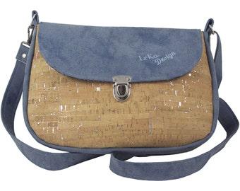 LeKo-design Cork bag, large shoulder bag made of synthetic leather and Cork