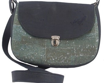 LeKo-design Cork bag, large shoulder bag made of Cork fabric, dark blue, green glitter