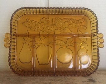 Amber glass divided relish tray made by Indiana Glass Company