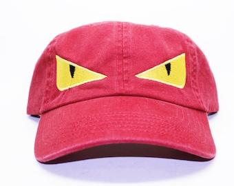 Fendi Monster Eyes Inspired Dad Cap In Red