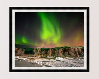 Northern Lights over Kirkenes Norway, Photography Print, Wall Art, Home Decor