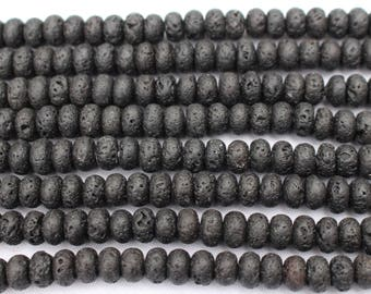 Black Lava Beads, Rondelle, 8mm x 5mm - Full Strand or Half Strand