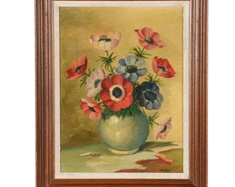 Richard Patrick Original Oil Painting on Board Flowers | Vintage Oil Painting| Poppy Oil Painting | Floral Oil Painting | 1950s Oil Painting