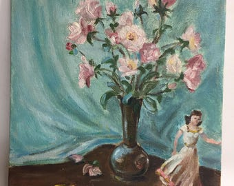 Original Oil Painting on Board Pink Flowers and Collectible Figurine   Vintage Painting   Floral Painting   Small Painting