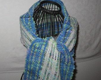 Scarf, shawl, handwoven, cotton, linen, leno-lace, blue, gray