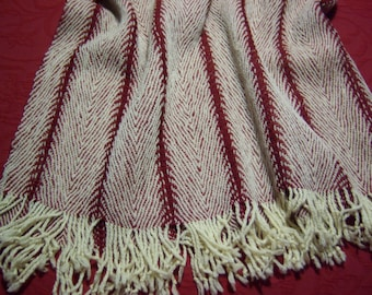 warm handwoven shawl, wrap, red and white, cuddly, pure wool