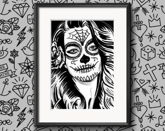 Signed 'Day Of The Dead Girl Two' Limited A4 Print