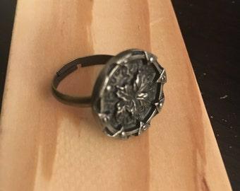 Antique Silver Button Ring