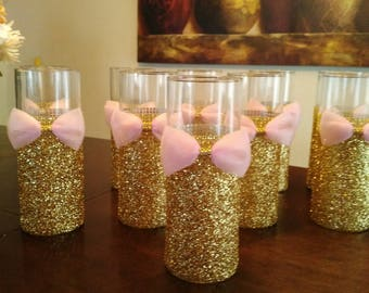 silver glitter vase with purple ribbon wedding centerpiece