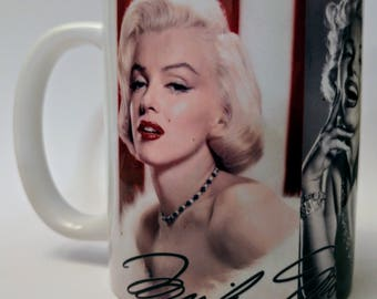 Marilyn Monroe coffee mug, Marilyn Monroe coffee cup, MM, The Blonde Bombshell, dumb blonde
