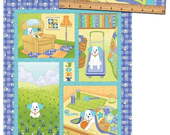 """Joey the Shop Dog - 1445-50 Joey's Diary 24"""" Panel Blue - by Rose Ann Cook for Benartex"""