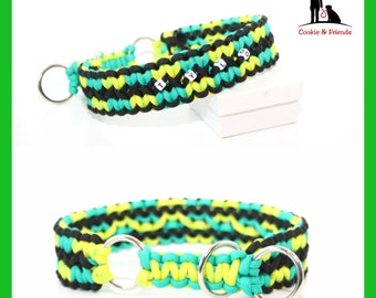 "Dog collar ""Zig zag"", para cord collar, collar, dog, Biothaneverschluss, train stop collar, metal buckle, Klickveschluss"