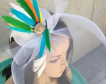 Colorful Feather White Fascinator