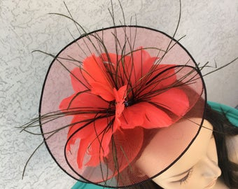 Chic Red and Black Feather Fascinator