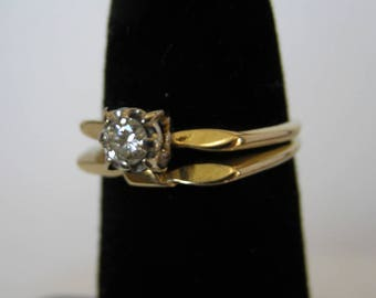 Vintage 14 K Solid Gold Diamond Wedding Engagement Ring Set