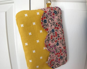 Scallop and floral bright yellow wristlet