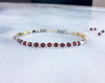 Garnet bracelet * Garnet crazy lace agate 14k solid gold bracelet * Multi gemstone bracelet * Stacking bracelet * January birthstone