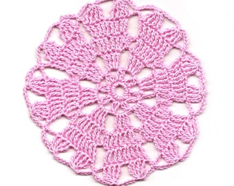 Mini Crochet Doily Lace Doilies Table decoration Crocheted Doily Centerpiece Handmade Wedding Doily Napkin Bohemian Decor Round Pink Flower