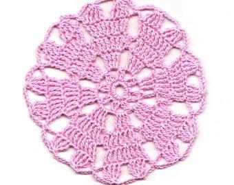 Mini Crochet Doily Lace Doilies Table decoration Crocheted Doily Centerpiece Handmade Wedding Doily Napkin Bohemian Decor Round Pink Flower