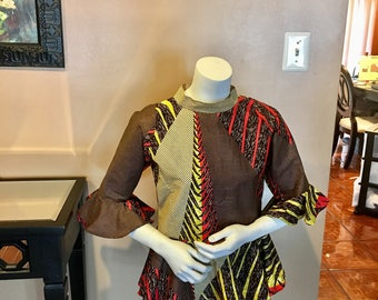 Ankara peplum top with bell sleeves