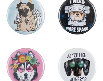 "Funny Dogs 8 Pack of 1.25"" Button Pins"