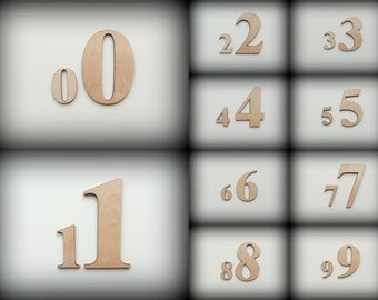Laser cutted wooden numbers, 100mm high