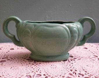 Vintage Govancroft Pottery Vase - Green Govancroft Boat Vase - Handled Vase - Scottish Pottery - Govancroft Posy Vase - Scottish Gift - 1940