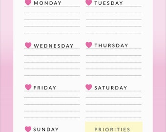 Printable Weekly Planner |  To-Do List | Printable Notebook Weekly Planner Inserts | PDF file |  PNG File | A5 Format | Instant Download