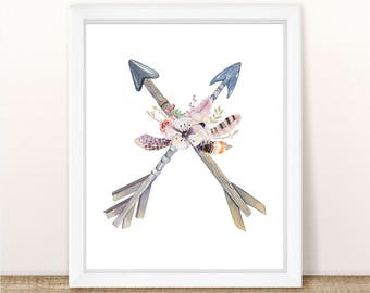 PRINTABLE, Watercolor Floral Arrows, INSTANT DOWNLOAD, Nursery Wall Decor, Girl Nursery Decor, Boho Nursery, Tribal Nursery, Quote Print