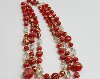 Absolutely Gorgeous Triple Strand Beaded Necklace with Crystal and Painted Beads, Made in Japan