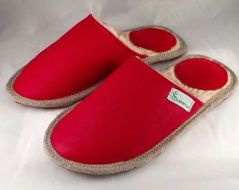Women slippers, red slippers, leather slippers, wool slippers, warm slippers, closed toe slippers, slippers for women, women's house shoes