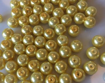 Yellow Glass Pearls 8mm x 140