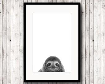 Sloth poster, Sloth print, animal poster, black and white photography, printable sloth, poster digital, digital download, minimalist
