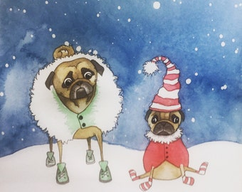 Pug Print - Walking In The Snow - Pug Art - Pug Drawing - Pen & Ink Pug